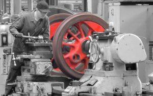Drehbank mit Eisenrädern für Lokomotive