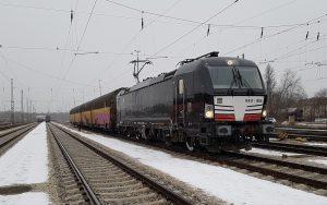 E-Lok der Baureihe 193 Vectron von Siemens mit zwei gelben Güterwagen unterwegs bei wintergrauem Wetter