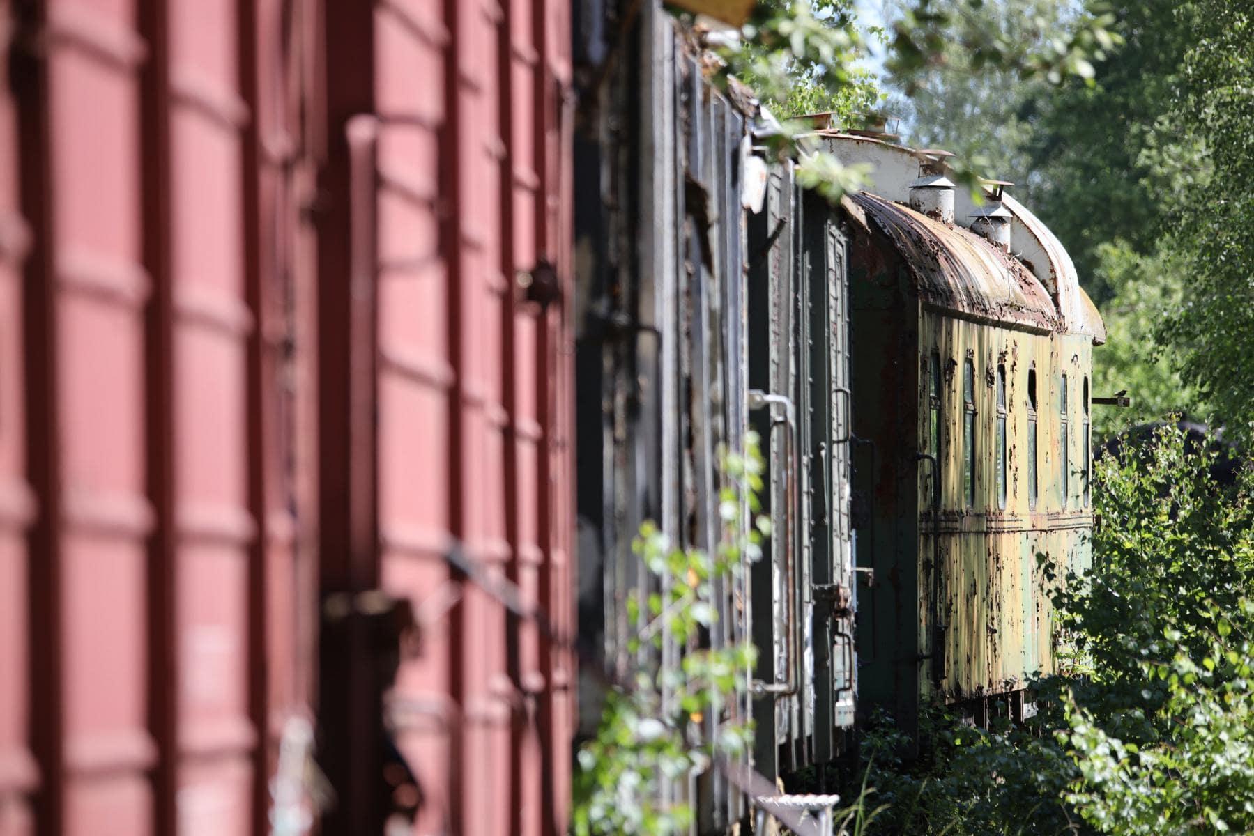 ©Foto: Christian Wodzinski | railmen | Eine lange Reihe abgestellter Wagen, die auf Aufarbeitung warten. Unendlich viel Arbeit für einen Verein