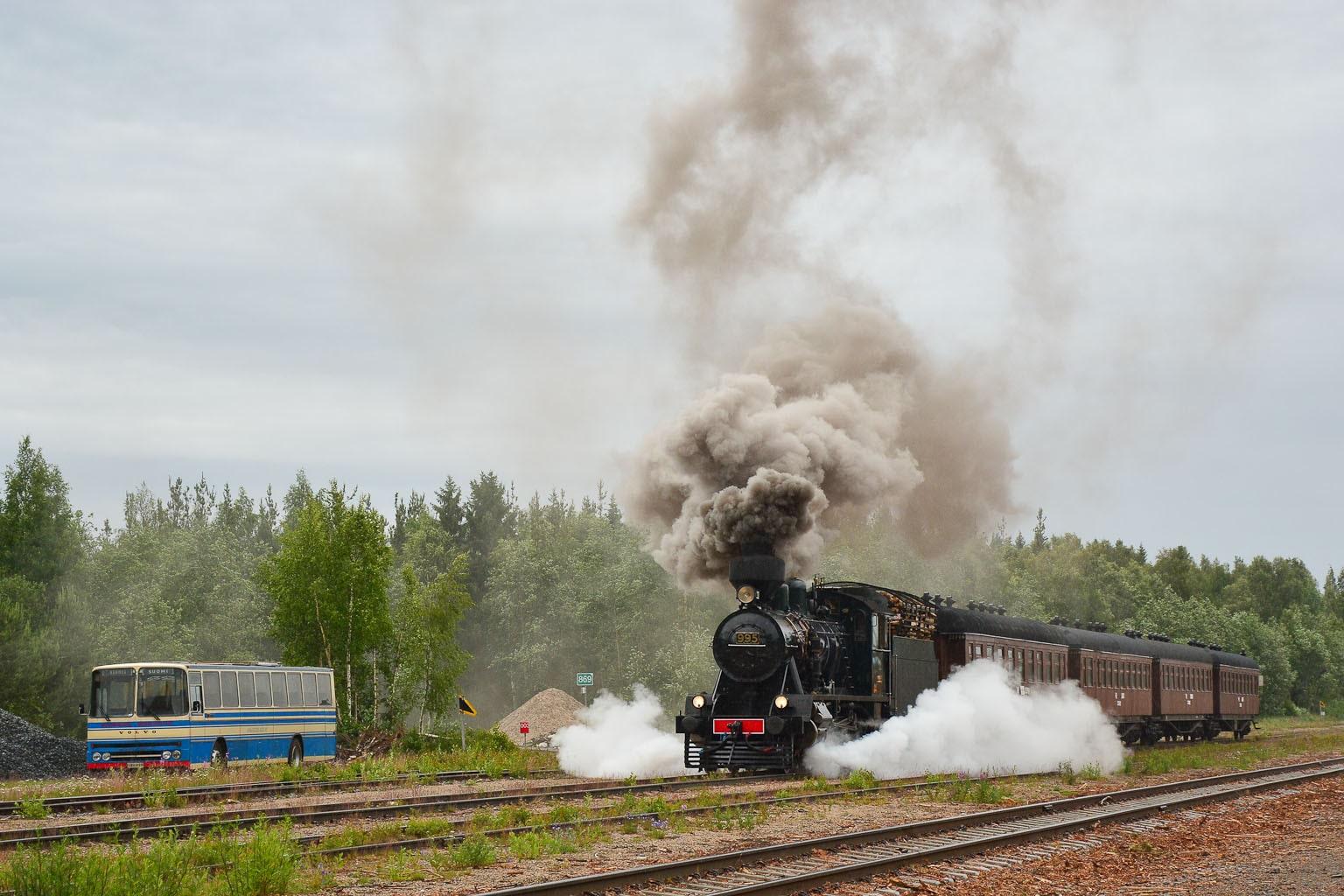 ©Foto: Steffen Mann | railmen | Finnland 2019 | Dampflok Hr3 995 2´c h2 Lokomotive 137/1941 mit P-Zug