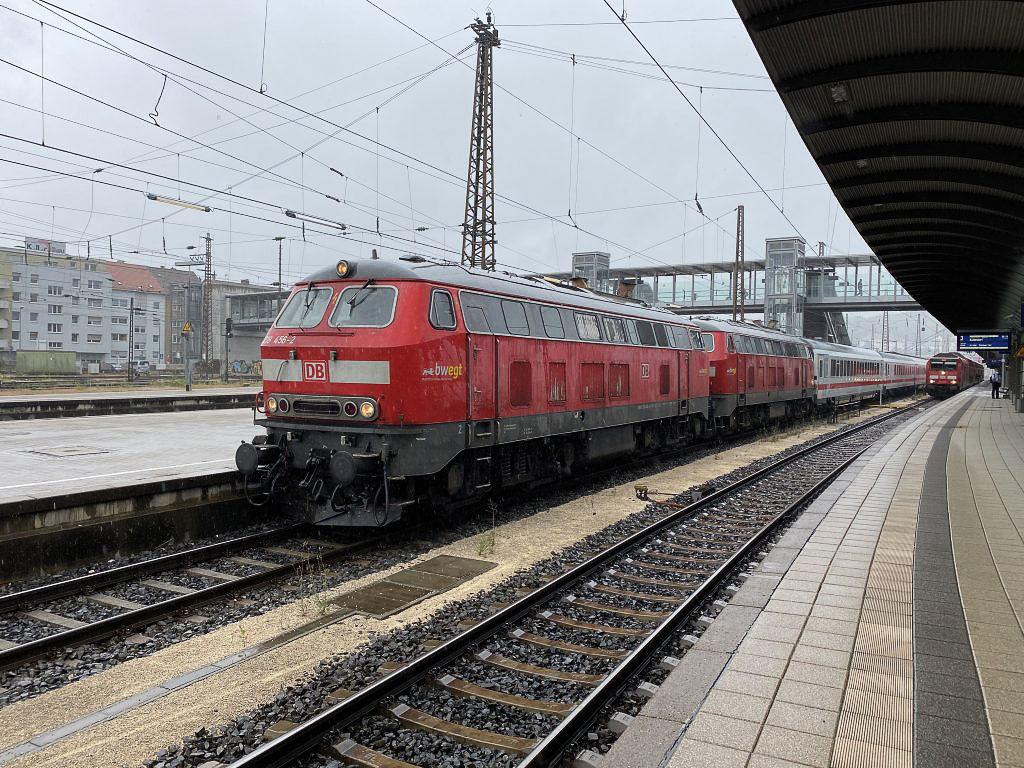 ©Foto: Daniel Hennig   railmen   IC mit Doppeltraktion BR 218 auf der Strecke Ulm-Oberstdorf